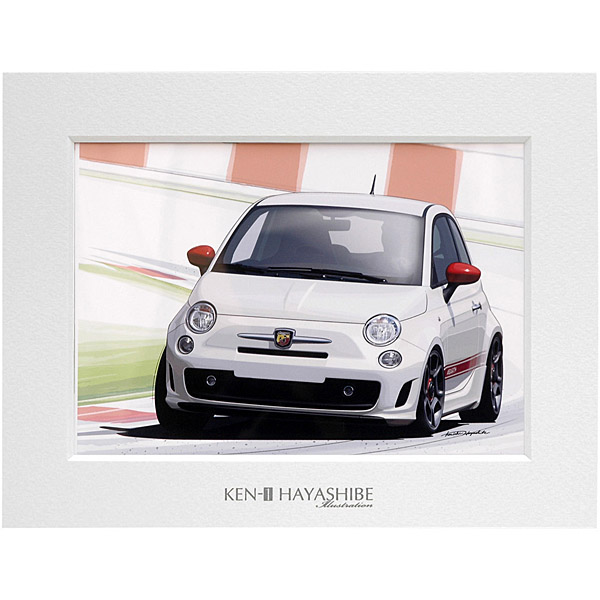NEW FIAT 500 ABARTH (ホワイト)イラストレーション by 林部研一 <br><font size=-1 color=red>07/14到着</font>