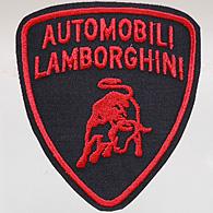 automobili lamborghini emblem patch (black base/red logo