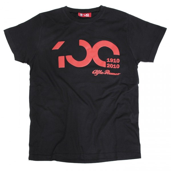 Alfa Romeo 100 anni Memorial T-Shirts (Black/Red Logo)<br><font size=-1 color=red>10/13到着</font>