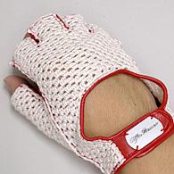 Alfa Romeo Driving Gloves RedMeshHalf Italian Auto Parts Gagets - Alfa romeo driving gloves