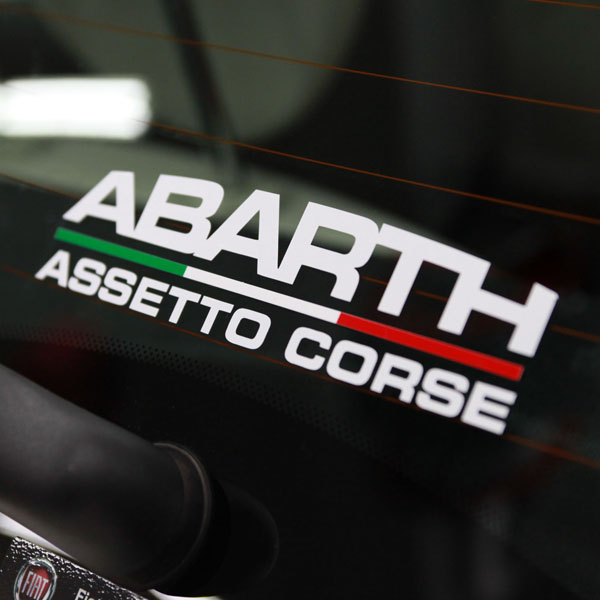 ABARTH ASSETTO CORSEロゴステッカー(切り文字/ホワイト)