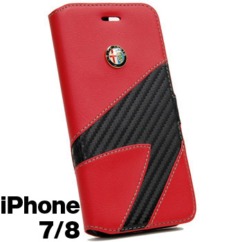 Alfa Romeo iPhone7/8Book Type Case-Synthetic(Red)-