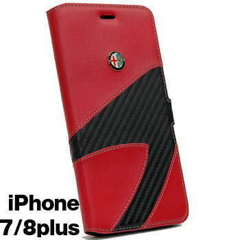 Alfa Romeo iPhone7/8Plus Book Type Case-Synthetic(Red)-