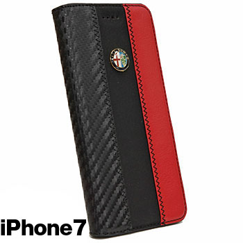 Alfa Romeo iPhone7/6/6s Book Type Case-Stripe-(BLACK)