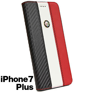 Alfa Romeo iPhone7/6/6s Plus Book Type Case-Stripe-(WHITE)
