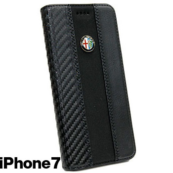 Alfa Romeo iPhone7/6/6s Book Type Case-Stripe-(BLACK/BRACK)