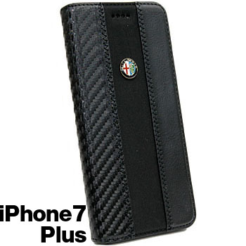 Alfa Romeo iPhone7/6/6s Plus Book Type Case-Stripe-Black/Black