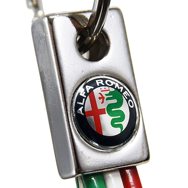 Alfa Romeo Tricolour Keyring(New Emblem/Color/Slim)