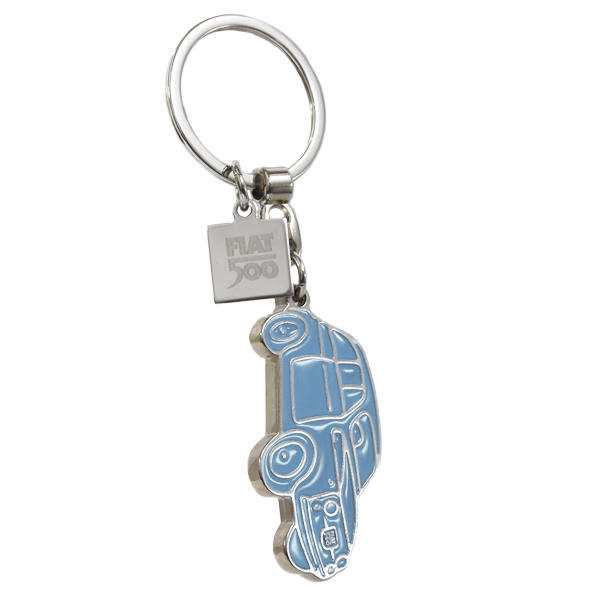 FIAT 500 Shaped Enamel Keyring(Light Blue)