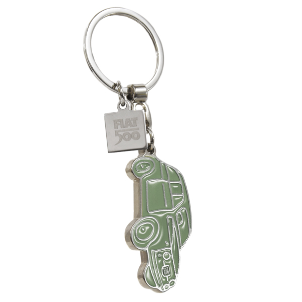 FIAT 500 Shaped Enamel Keyring(Green)