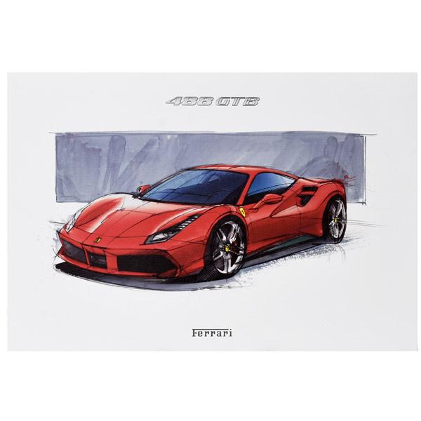 ferrari純正488 gtbプレスイラストレーション イタリア自動車雑貨店