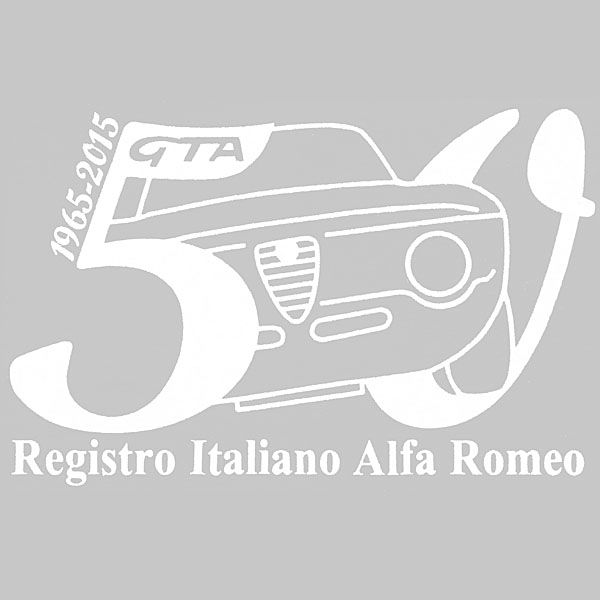 Alfa Romeo Giulia GTA 50 anni Memorial Sticker(White) by RIA(Registro Italiano Alfa Romeo)