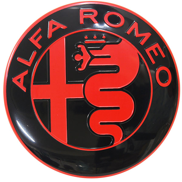 Alfa Romeo Newアルミエンブレム(ブラック/レッド)<br><font size=-1 color=red>10/04到着</font>