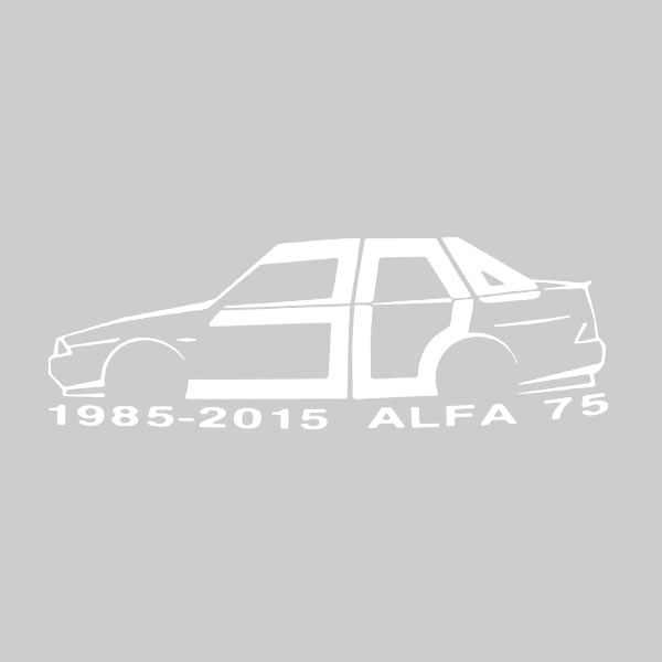 Alfa Romeo 75 30 anni Memorial Sticker(White) by RIA(Registro Italiano Alfa Romeo)