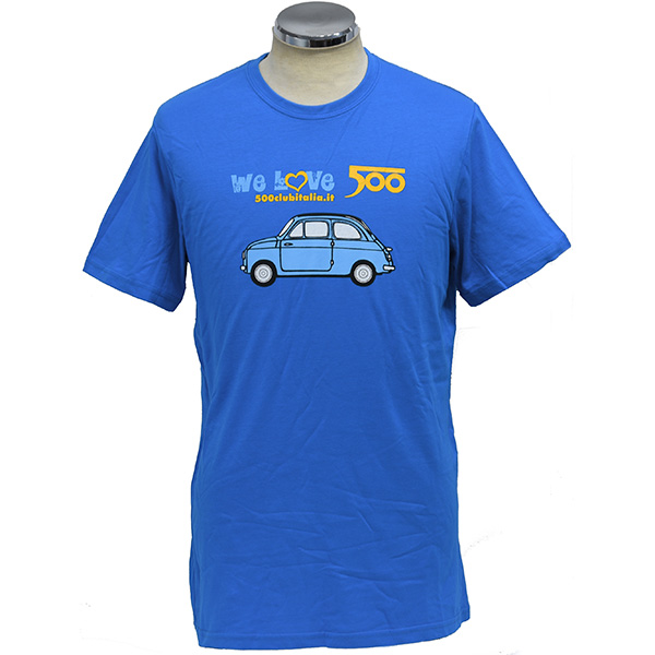 FIAT 500 CLUB ITALIA We Love 500Tシャツ(ブルー)
