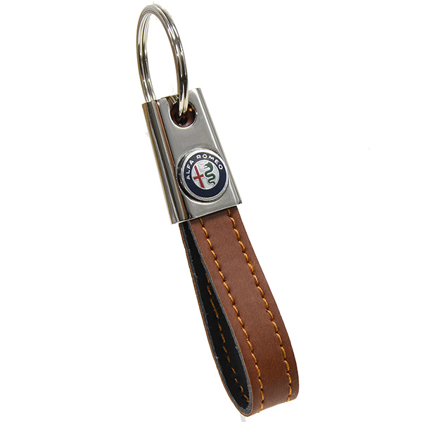 Alfa Romeo Strap Shaped Keyring(New Colour Emblem/Brown)