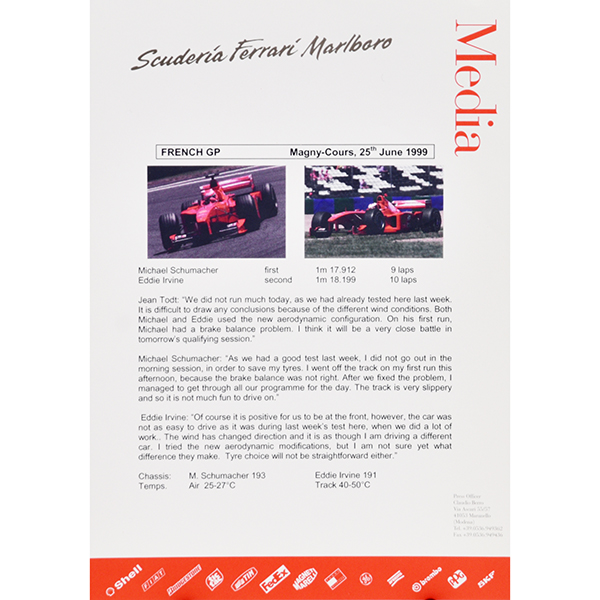 Scuderia Ferrari F1 Press Release-25.06.2000 French GP