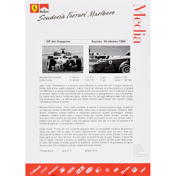 Scuderia Ferrari F1 Press Release-30.10.1999 JAPAN GP