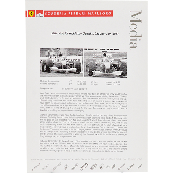 Scuderia Ferrari F1 Press Release-6.10.2000 JAPAN GP