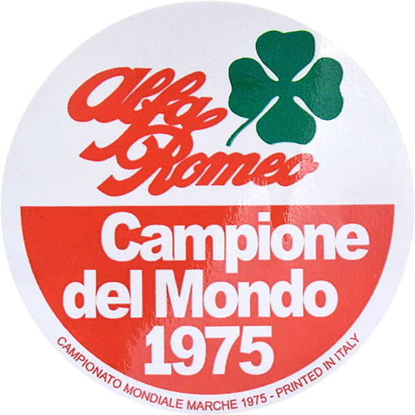Alfa Romeo Campione del Mondo 1975ステッカー(リプロダクト)<br><font size=-1 color=red>07/13到着</font>