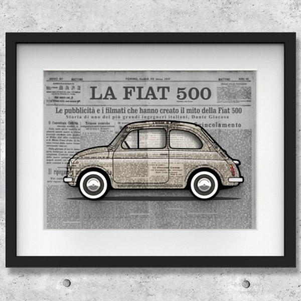 FIAT Nuova 500イラストレーションby Mr.Vin -GIORNALE- (Large)