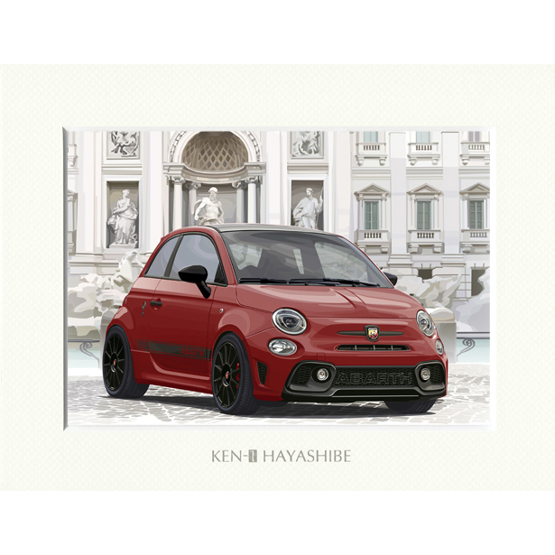 ABARTH 595 -シリーズ4-(レッド)イラストレーションby 林部研一<br><font size=-1 color=red>07/14到着</font>